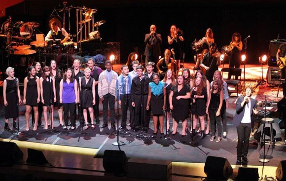 Josh Groban with members of the LACHSA Jazz and Vocal Choir