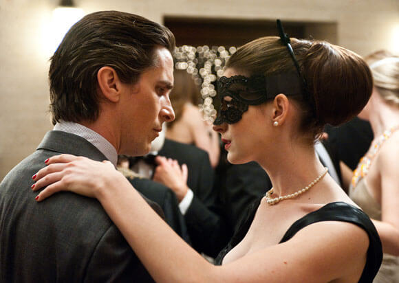 Christian Bale and Anne Hathaway in a scene from The Dark Knight Rises.