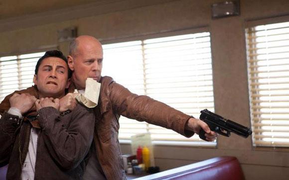 Joseph Gordon-Levitt and Bruce Willis in Looper