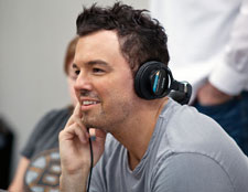 Seth MacFarlane on the Ted set