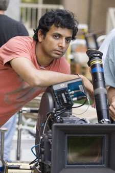 M Night Shyamalan on the set of Lady in the Water
