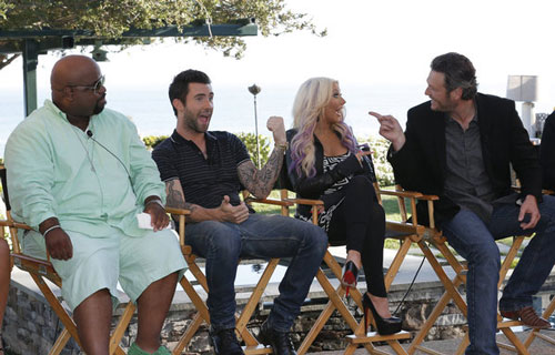 CeeLo Green, Adam Levine, Christina Aguilera, Blake Shelton from The Voice