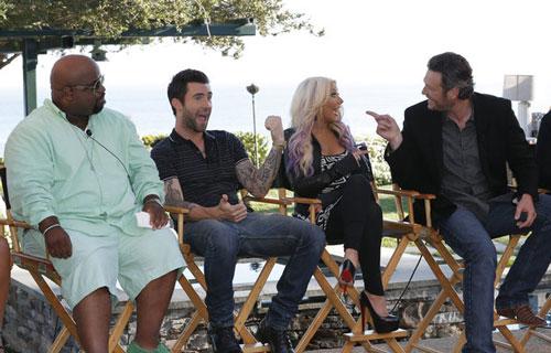 CeeLo Green, Adam Levine, Christina Aguilera, Blake Shelton from The Voice