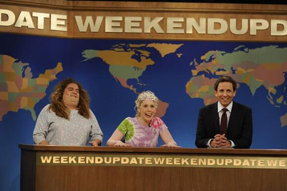 Bobby Moynihan, Vanessa Bayer, and Seth Meyers on SNL