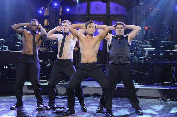 Joseph Gordon-Levitt Shirtless on SNL It's Raining Men Skit