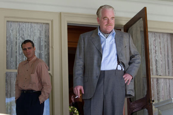 Joaquin Phoenix and Philip Seymour Hoffman in The Master