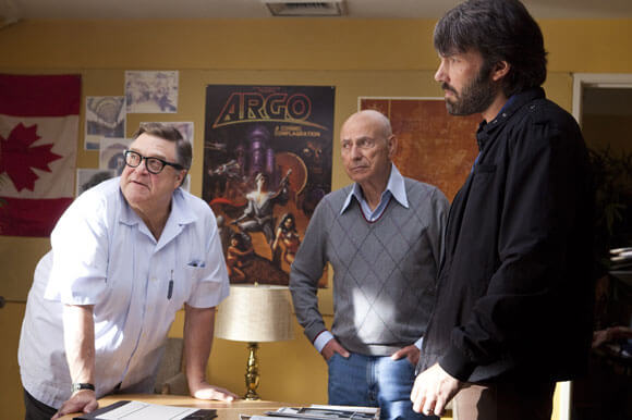 John Goodman, Alan Arkin, and Ben Affleck in a scene from Argo.