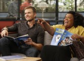 Joel McHale as Jeff and Yvette Nicole Brown as Shirley in 'Community'