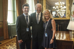 Adam Scott, Vice President Joe Biden and Amy Poehler
