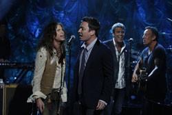 Steven Tyler, Jimmy Fallon, Mark Rivera, and Bruce Springsteen