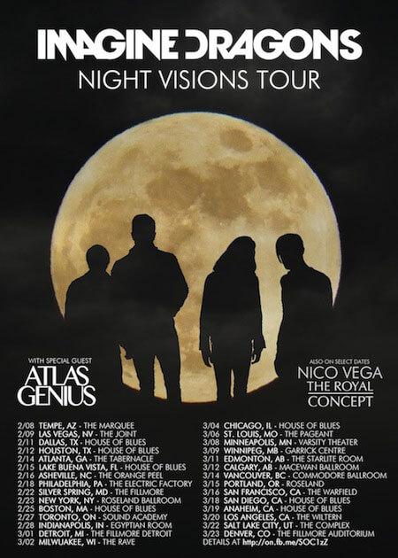 Imagine Dragons Night Visions Tour Details