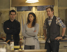 Sam Witwer, Meaghan Rath and, Sam Huntington in 'Being Human'