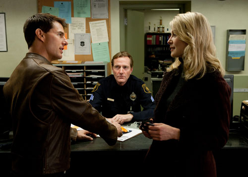 Tom Cruise, Lee Child and Rosamund Pike in Jack Reacher