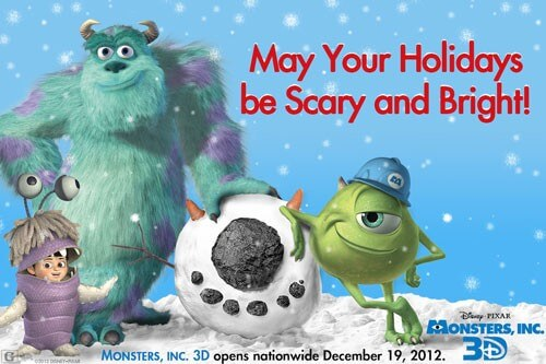 Monsters Inc, 3D Holiday Card