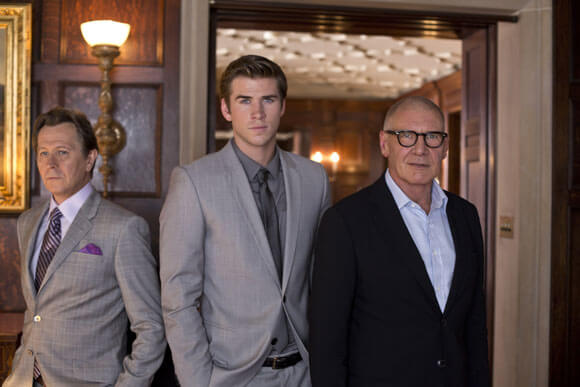 Gary Oldman, Liam Hemsworth and Harrison Ford in Paranoia