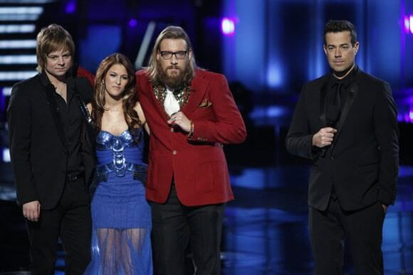 Terry McDermott, Cassadee Pope, Nicholas David, and Carson Daly
