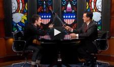 Elijah Wood and Stephen Colbert