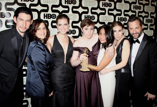 The cast of Girls at HBO's 2013 Golden Globes After Party