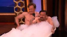 Conan O'Brien and Ricky Gervais in a Bathtub