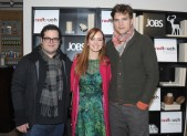 Josh Gad, Ahna O'Reilly and Ashton Kutcher from jOBS