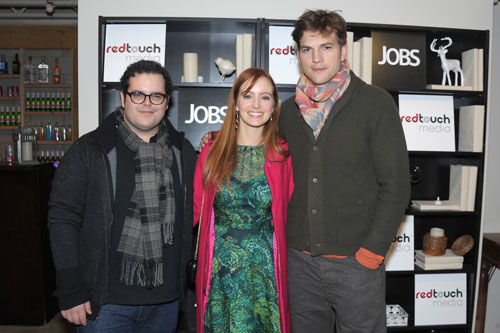 Josh Gad, Ahna O'Reilly and Ashton Kutcher from jOBS