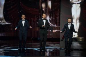 Joseph Gordon Levitt, Seth MacFarlane, and Daniel Radcliffe Oscars 2013