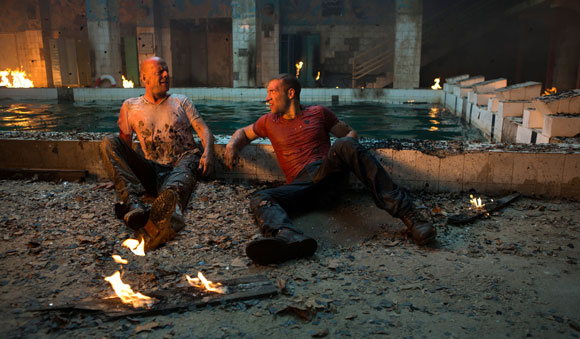 Bruce Willis and Jai Courtney star in A Good Day to Die Hard