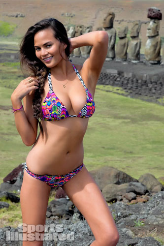 Chrissy Tiegen poses in Chile for Sports Illustrated Swimsuit 2013