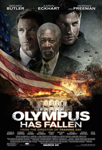 Olympus Has Fallen Poster with Aaron Eckhart, Morgan Freeman & Gerard Butler