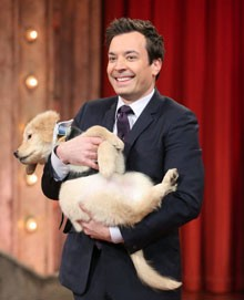 An Oscar Puppy and Jimmy Fallon