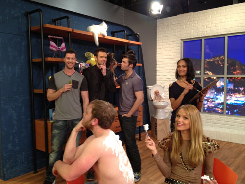 Joel McHale and the Spartacus Cast