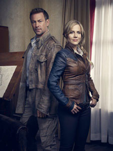 Grant Bowler and Julie Benz in Defiance