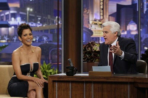 Halle Berry and her low-cut dress and Jay Leno