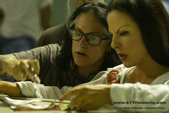 Jules Stewart and Kate del Castillo on the set of K-11