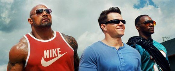 Dwayne Johnson, Mark Wahlberg and Anthony Mackie in Pain and Gain