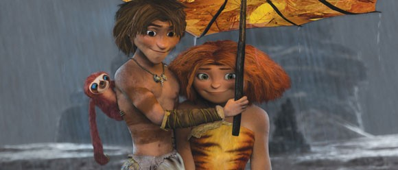 Ryan Reynolds and Emma Stone in The Croods