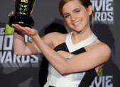 Emma Watson with her 2013 MTV Movie Awards Trailblazer Award