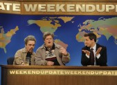 Peter Dinklage, Bobby Moynihan, and Seth Meyers on Saturday Night Live