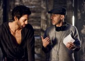 Tom Riley and David S. Goyer on the set of Da Vinci's Demons