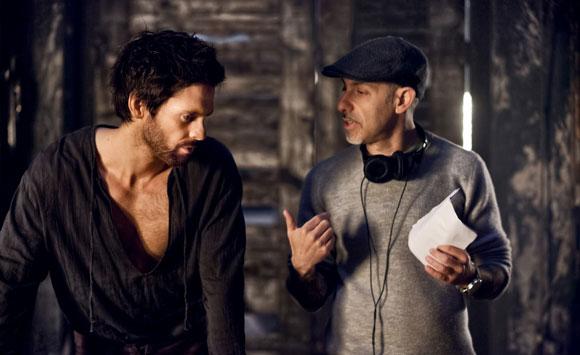 Tom Riley and David S. Goyer on the set of Da Vinci's Demons