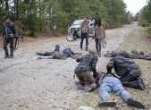 Daryl Dixon, Rick Grimes, and Danai Gurira in The Walking Dead Season 3