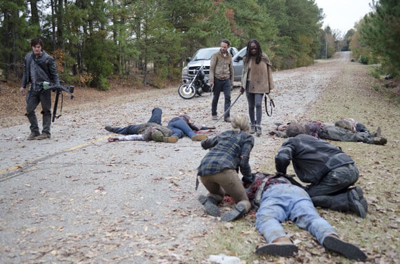 Daryl Dixon, Rick Grimes, and Danai Gurira in The Walking Dead Season 3