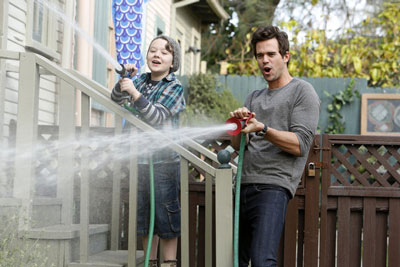 Benjamin Stockham as Marcus and David Walton as Will in 'About a Boy'