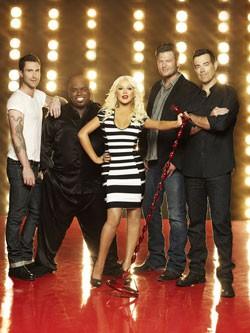 Adam Levine, CeeLo Green, Christina Aguilera, Blake Shelton, Carson Daly