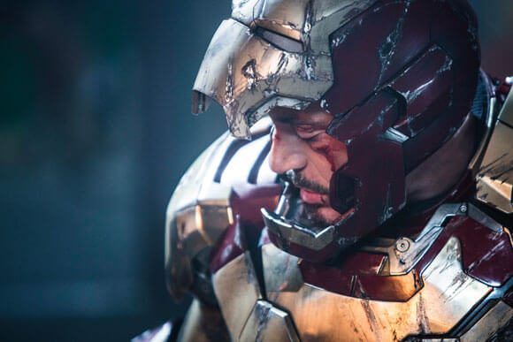 Robert Downey Jr as Iron Man in 'Iron Man 3'