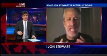 John Oliver and Jon Stewart on The Daily Show