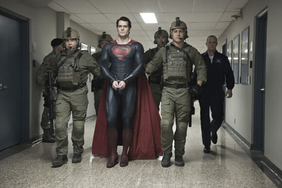 Henry Cavill and Christopher Meloni in 'Man of Steel'