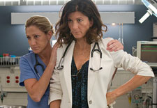 Edie Falco and Eve Best in Nurse Jackie