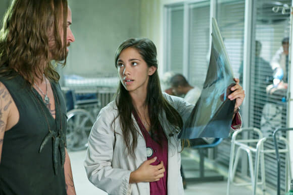 Colin Cunningham and Seychelle Gabriel in 'Falling Skies' season three