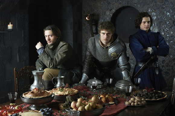 David Oakes, Max Irons, and Aneurin Barnard in The White Queen